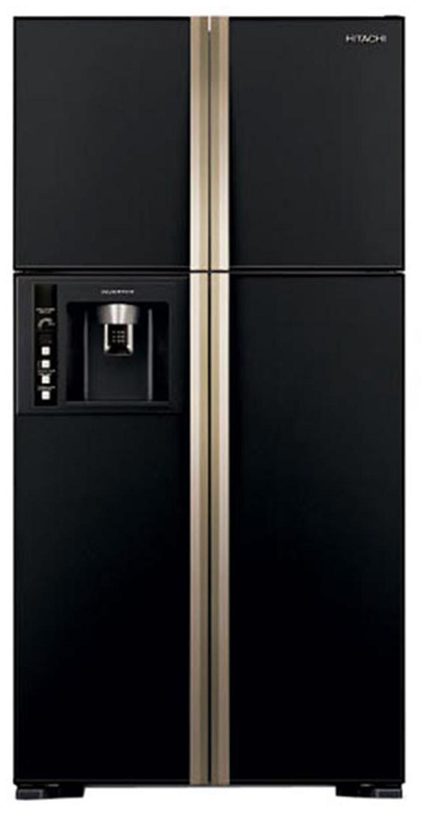 Hitachi Frost Free 638 L Side By Side Refrigerator (R-W720FPND1X-(GBK)-(Delux)  Glass Black)