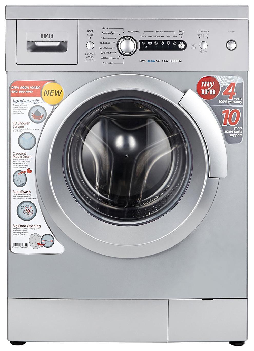 IFB 6 kg Fully Automatic Front Load Washing Machine (DIVA AQUA SX, Silver)