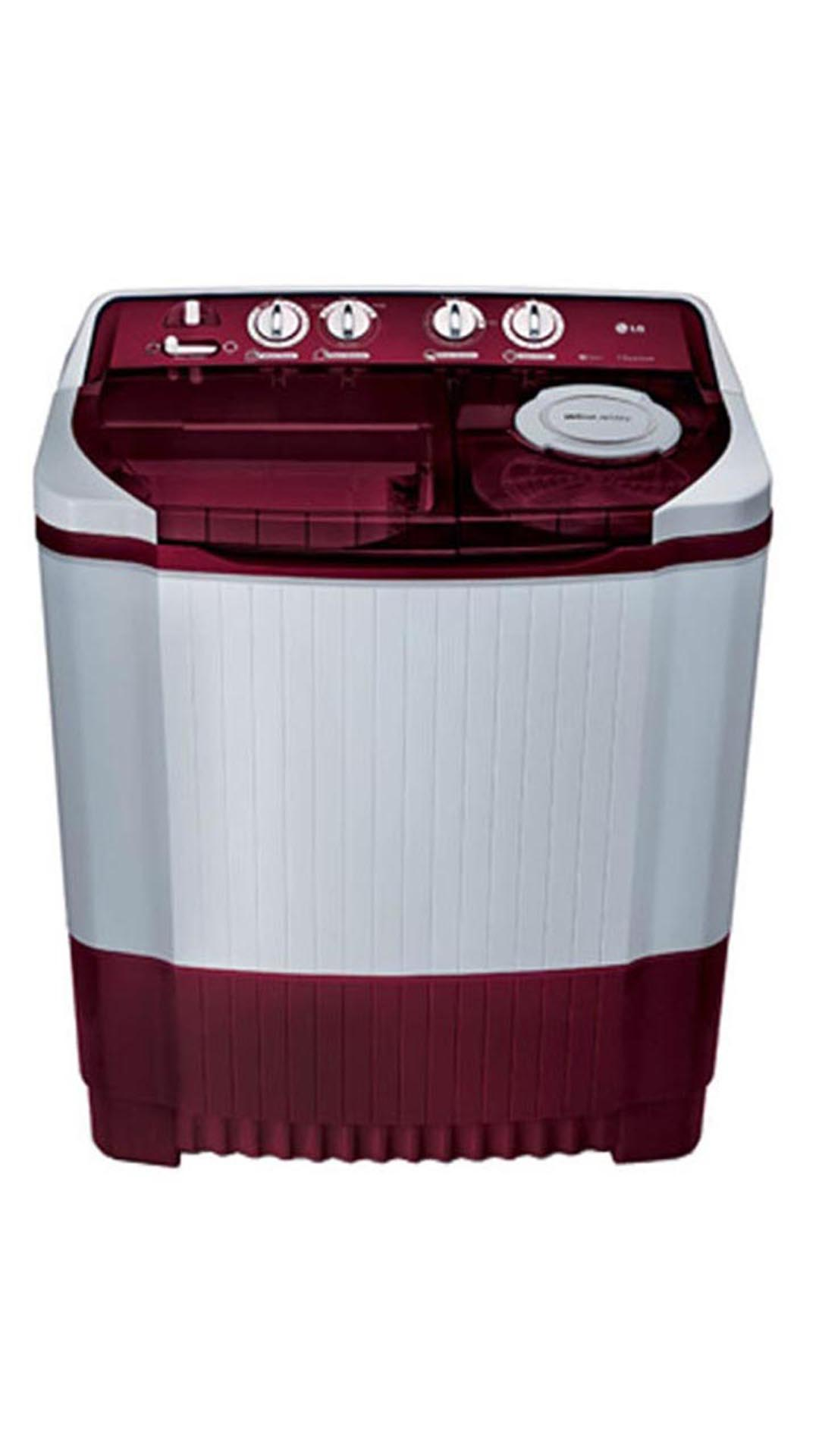 LG P9032R3SM Semi-Automatic Top Loading 8 Kg Washing Machine (White & Burgundy)
