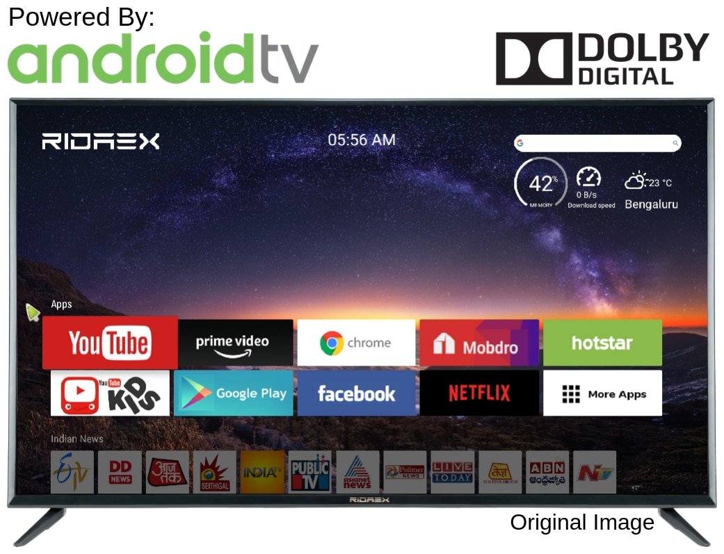 Ridaex RE Pro REPROV143 106 cm (43 inch) Android Smart LED TV