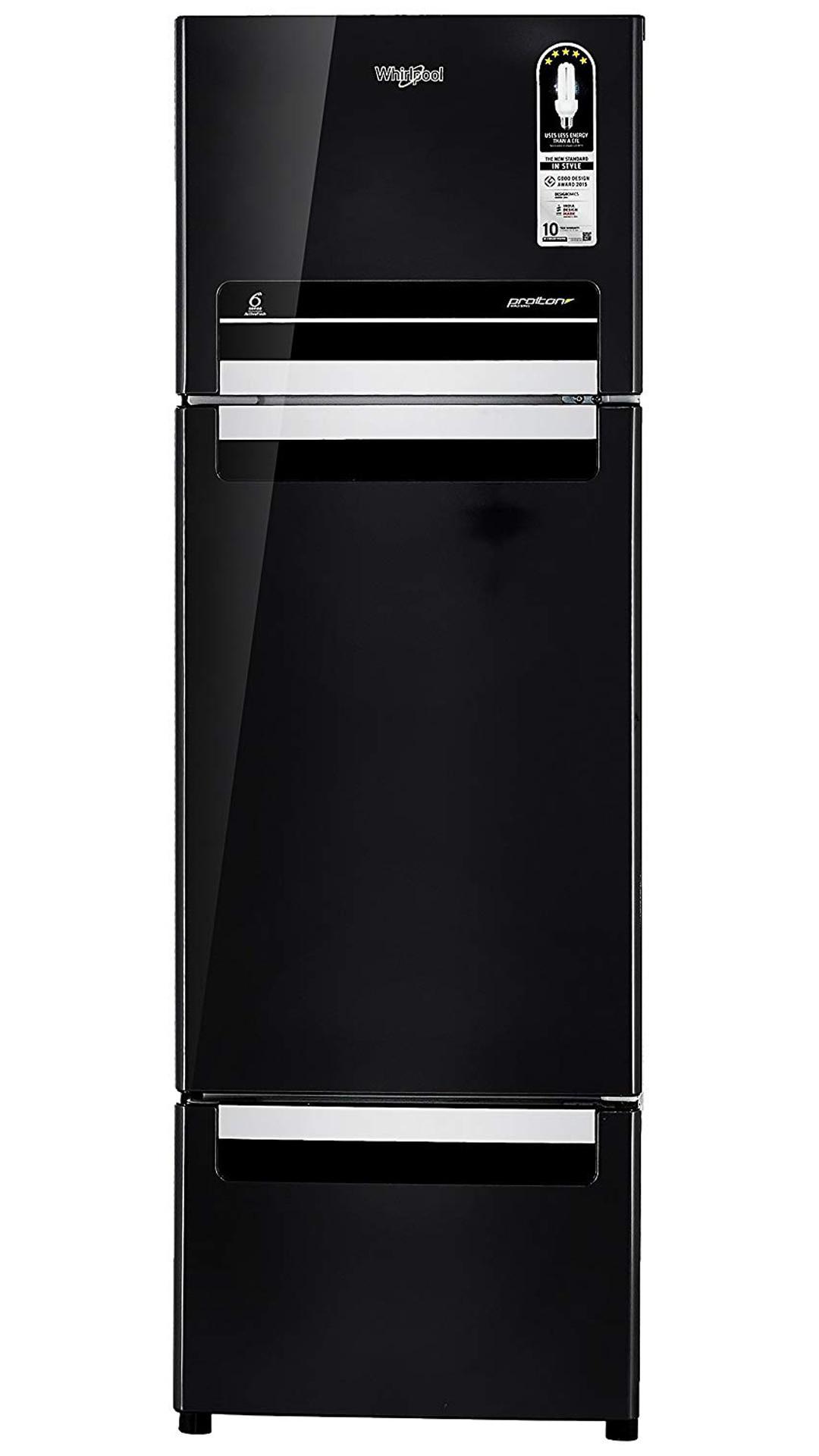 Whirlpool Frost Free 260 L Triple Door Refrigerator (Fp 283D Protton Roy Caviar Black )