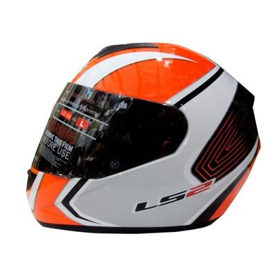 Ls2 Full Face Helmet Corsa White And Orange