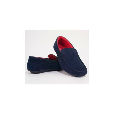 Men Navy Blue;Red Loafers