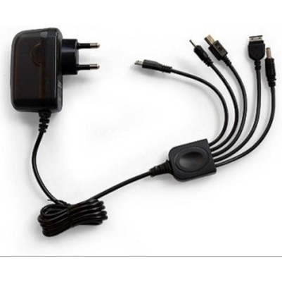 6 In 1 With USB Universal Multi Mobile Charger (Black)