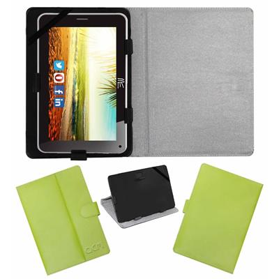 Acm Leather Flip Flap Case For Hcl Me Connect V3 2g Tablet Cover Green
