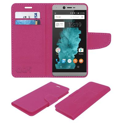 Acm Mobile Leather Flip Flap Wallet Case for Smartron Tphone T5511 Mobile Cover Pink