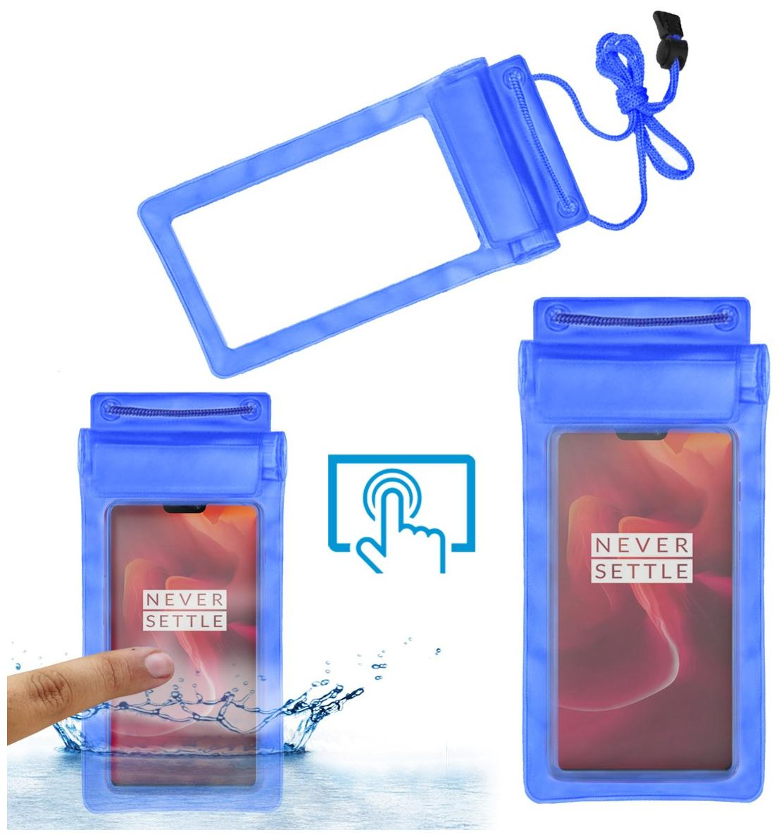 Acm Waterproof Bag Case for Oneplus 6 Red Edition Mobile (Rain,Dust,Snow & Water Resistant) Blue