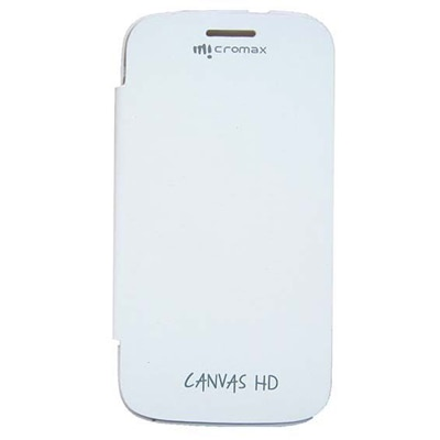 Axomart Flip Cover For Micromax A116 Canvas HD (White)