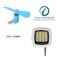 PMaxxs Combo 2 in 1 Selfies Flash Light + Mobile Mini OTG Fan