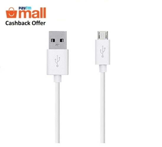 Croma USB 2.0 A-Male to Micro B Charging Cable & Data Sync Cable for Android Phones (0.9 Meters/3 Feet) (White)