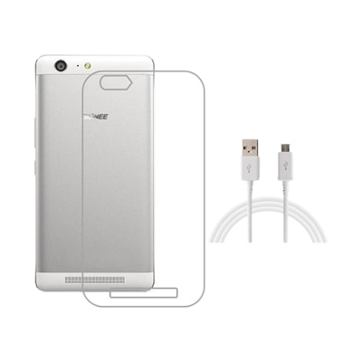 Ganesham Back Cover For Gionee Marathon M5 (Transparent) With USB Cable