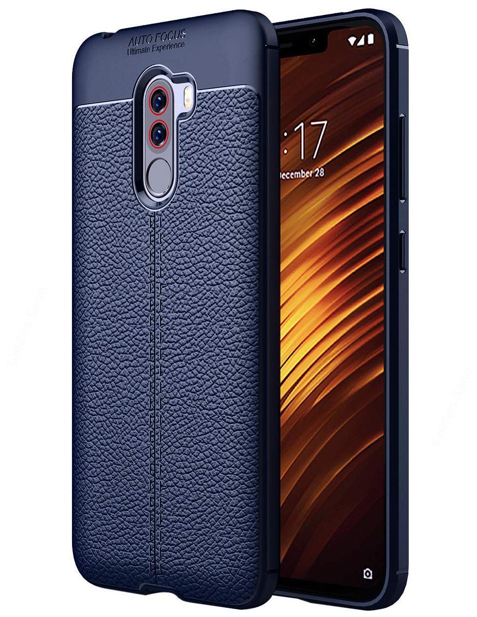 INCLU Premium Xiaomi Poco F1 Phone Back Cover Case Drop Tested Premium Leather TexturedShock Proof Armor -Blue