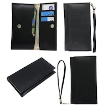 Jo Jo A5 G3 Leather Wallet Universal Pouch For Nokia 808 PureView (Black)