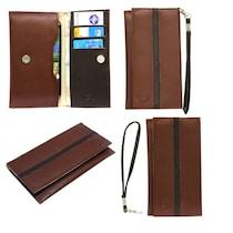 Jo Jo A5 S Series Leather Pouch For Celkon A119Q Signature Hd (Brown)