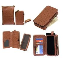 Jo Jo A7 Zara Sr Croc Leather Pouch For Celkon A119Q Signature HD (Brown)