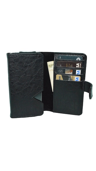 JVM-Wallet-Case-Cover-For-Gionee-L700-(Black)