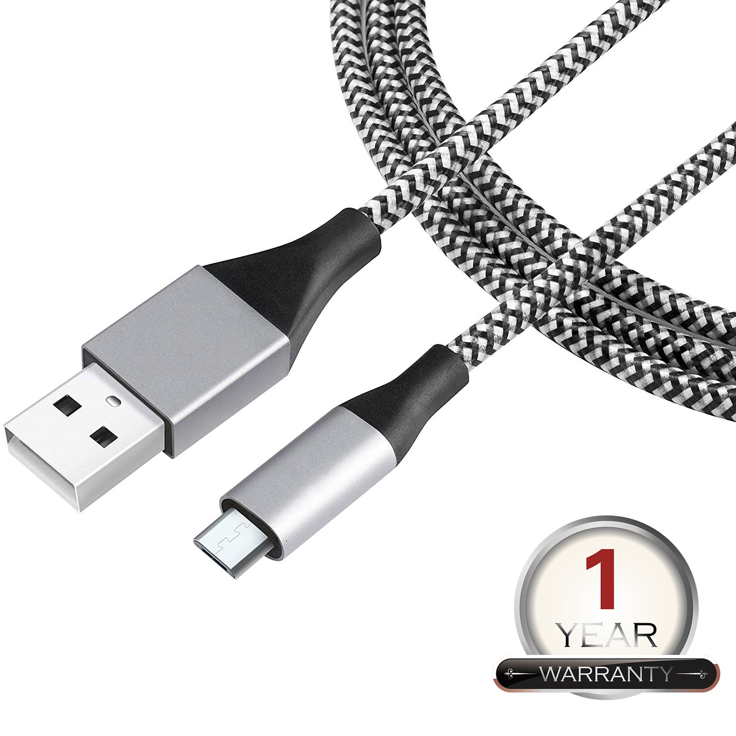 LIRAMARK Nylon Braided Original Tough Micro USB Data Cable with Super Fast Charging up to 2.4Amps All Mobile Devices and Tablets ( Silver ) ( 1m / 3.3 feet )