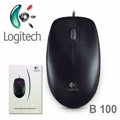 Logitech B100 USB Optical Mouse (Black)
