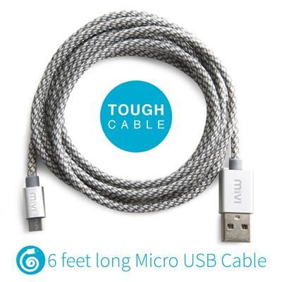 6ft long Nylon Braided Original Mivi Tough Micro USB Cable (Grey)