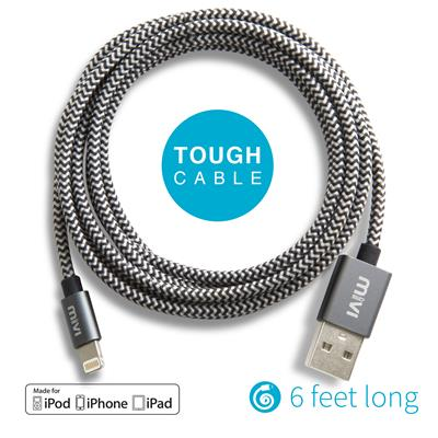 Apple Certified 6ft long Nylon Braided Original Mivi Tough Lightning Cable for...
