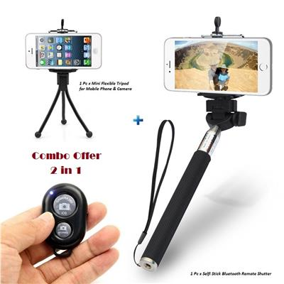 mobile accessories combo of selfie stick monopod with bluetooth remote mini camera tripod stand. Black Bedroom Furniture Sets. Home Design Ideas