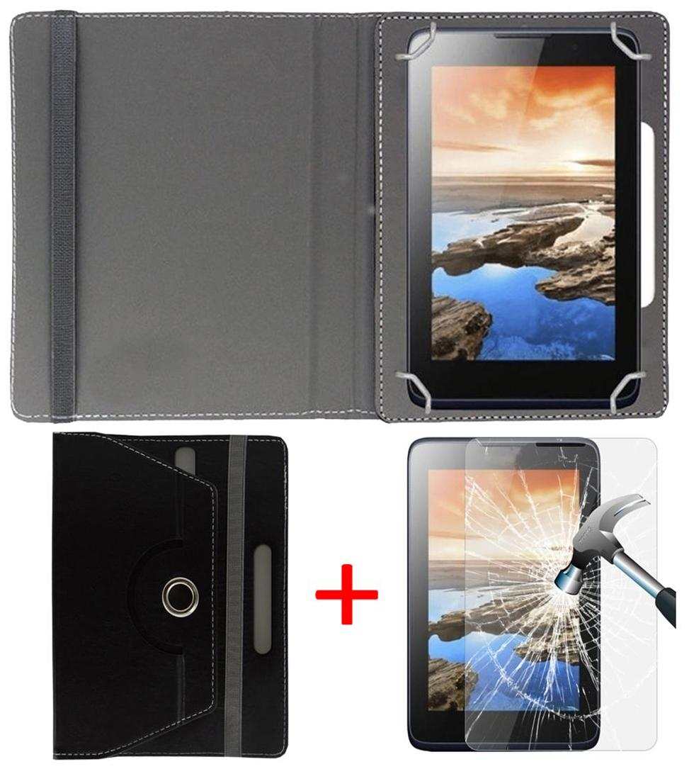 NXG XTab A9 Plus Book Cover + Free Tempered Glass by Hello Zone-Black