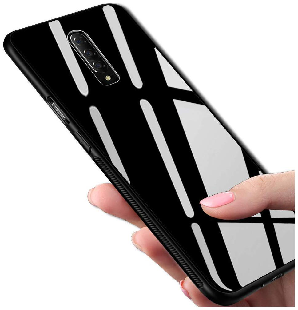 OnePlus 7 Pro Shockproof Bumper TPU Frame with 9H High-Hardness Luxurious Toughend Tempered Glass Back Case Cover Bumper Protective Cover for Oneplus 7 pro (Gloss Black)