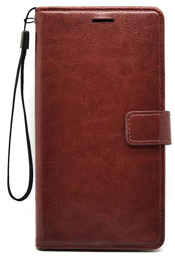 Premium Leather Case Flip Cover Foldable Stand Wallet Card Slots - Executive Brown Samsung Galaxy J7 Prime