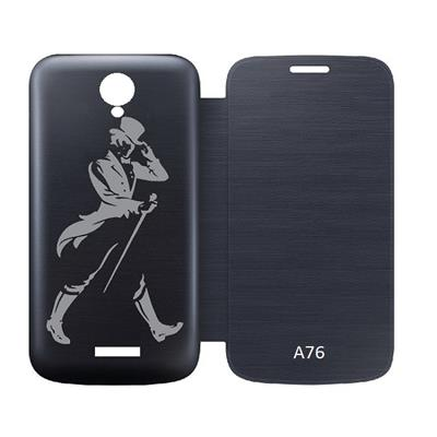 Printed Villa Flip Cover For Micromax Canvas Fun A76  Black  available at Paytm for Rs.188