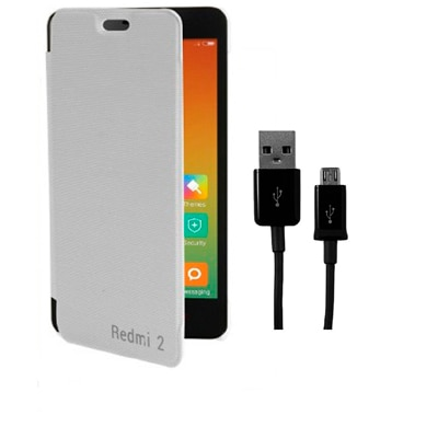RDcase Flip Cover For Xiaomi Redmi 2 (White) With Data Cable