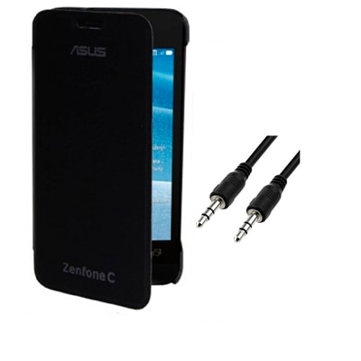 RDcase Flip Cover For Asus Zenfone C (Black) With 3.5 Mm Aux Cable