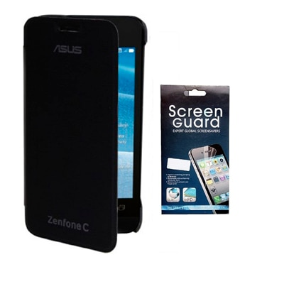 RDcase Flip Cover For Asus Zenfone C (Black) With Screen Protector