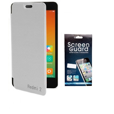 RDcase Flip Cover For Xiaomi Redmi 2 (White) With Screen Protector