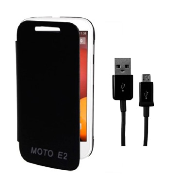 RDcase Flip Cover For Motorola Moto E2 (2nd Gen) (Black) With Data Cable