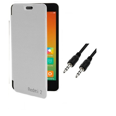 RDcase Flip Cover For Xiaomi Redmi 2 (White) With 3.5 Mm Aux Cable