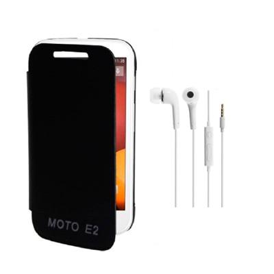 RDcase Flip Cover For Motorola Moto E2 (2nd Gen) (Black) With Hands Free