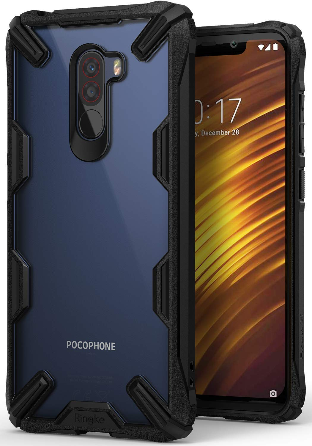 Ringke [Fusion-X] Compatible with Poco F1 Back Case Cover Ergonomic Transparent [Military Drop Tested Defense] Hard PC Back TPU Bumper Impact Resistant Protection Cover for Xiaomi Pocophone F1 - Black