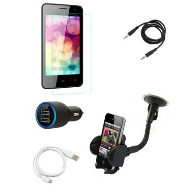 Tempered Glass Screen Guard Mobile Holder Car Charger for Intex Craze