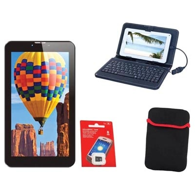 Tescom Bolt 3G Tablet (Black) With OTG Cable/Carrying Pouch/Keyboard Cover/Memory Card 8 Gb