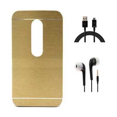Tidel Back Cover For  Motorola Moto X Play (Golden) With Mobile Accessories Combo
