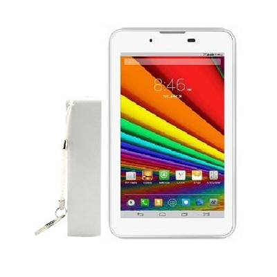 VOX V106 8 GB Tablet (White & Silver) With 2000mAh Powerbank