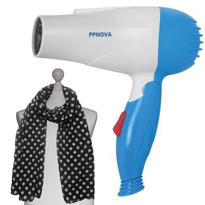 PPNOVA PN-1000W Hair Dryer For Women (White & Blue) With Free Scarf - 40667461