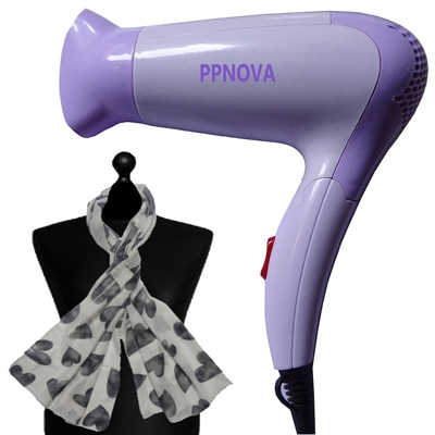 PPNOVA PN-1200 Hair Dryer For Women (White & Purple) With Free Scarf