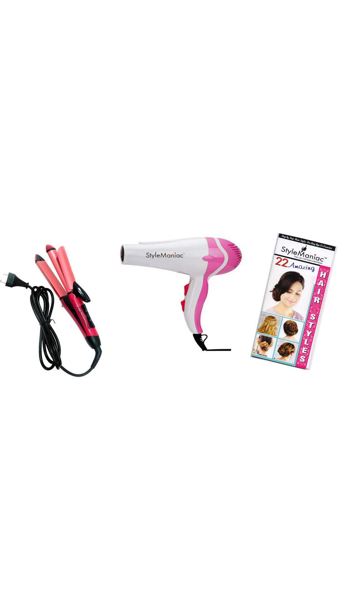 Style Maniac ombo of  2 in 1 Hair Straightener cum Curler and Hot & Hair dryer and a ultimate hair style booklet FREE
