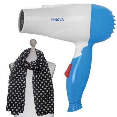 PPNOVA PN-1000W Hair Dryer For Women (White & Blue) With Free Scarf
