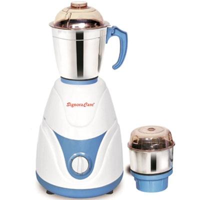 SignoraCare Eco Plus 500 W Mixer Grinder (White & Blue/2 Jar)