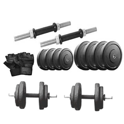 Protoner 20 Kg Rubber Dumbell With Dumbell Rod And Gym Glove