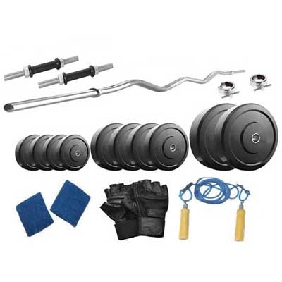 Protoner 20 Kg Weight Lifting With Curl Rod And Home Gym Accessories