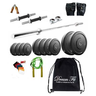 Dreamfit 20 Kg Home Gym with 3 Rods (1 x 3ft straight rod) Backpack and Accessories