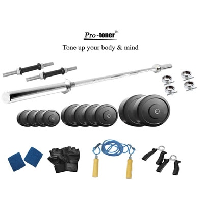 Protoner 20 Kg Weight Lifting Package With Straight Rod